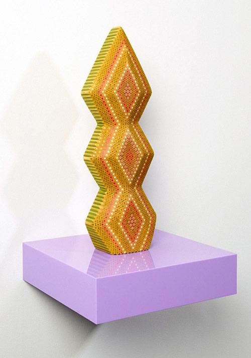 Coloured pencil sculptures by Lionel Bawden