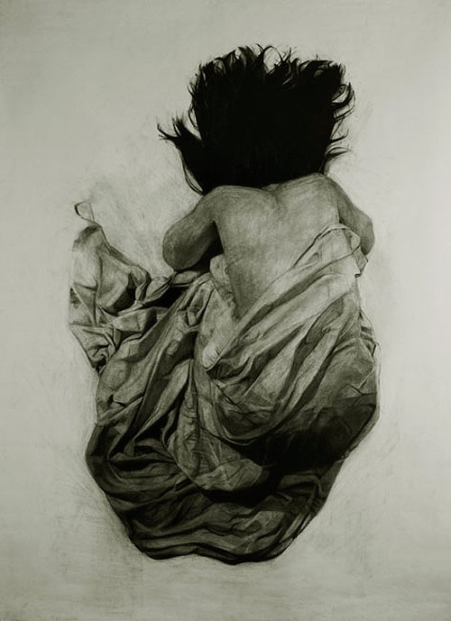 Charcoal drawings by artist Kelly Blevins