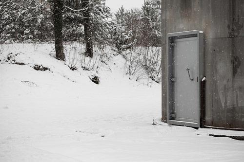 329 cotton balls inside an abandoned tank in Switzerland installation by Zimoun