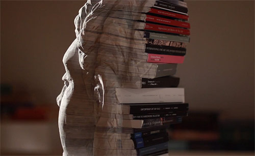 Book carvings sculptures by artist Long-Bin Chen