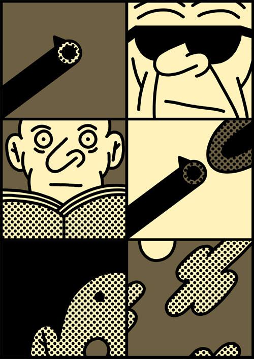 Comic drawings by artist Simon Landrein