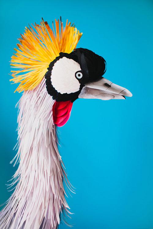 artist Diana Beltrán Herrera paper bird sculptures