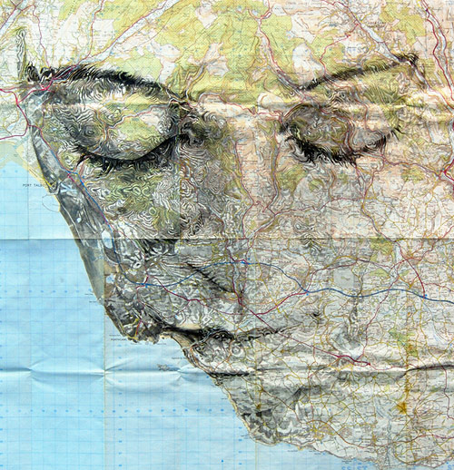Map portraits drawings by artist Ed Fairburn