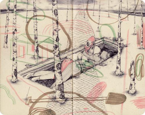 Sketchbook drawings by artist Pat Perry