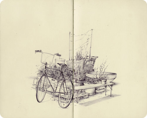 Sketchbook drawings by artist Pat Perry