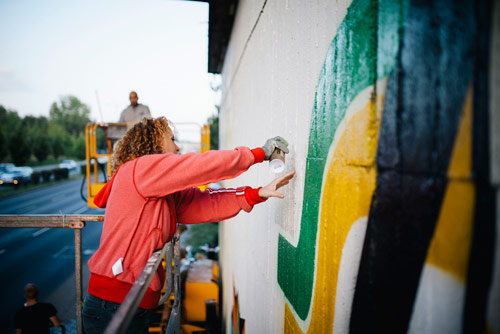 warsteiner artist mural and bottles