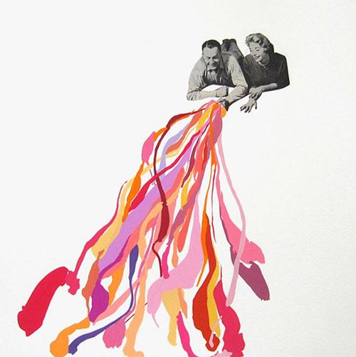 mixed media collage by san francisco artist Elizabeth Amento