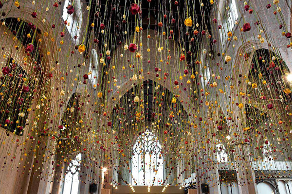 Hanging Flower Installations by Rebecca Louise Law
