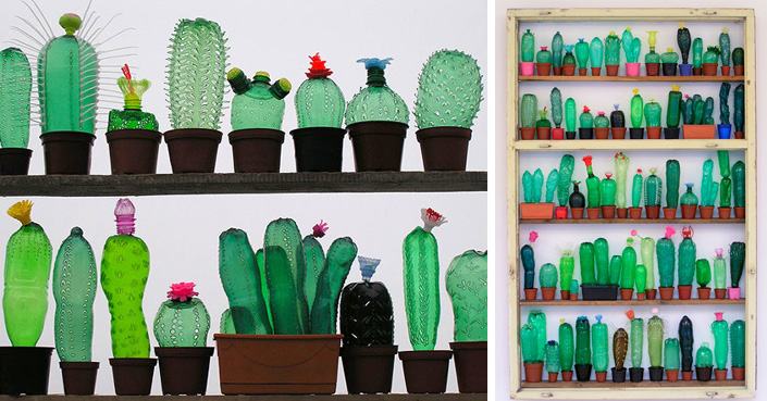 Plants made from recycled plastic bottles by artist for Art out of plastic bottles