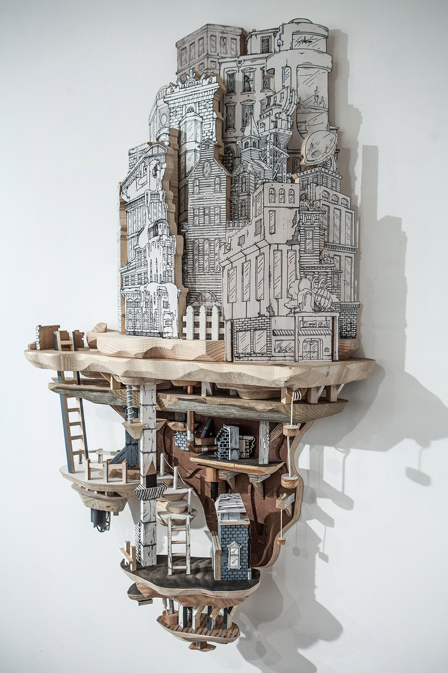 artist luke o u2019sullivan combines drawings and sculptures to