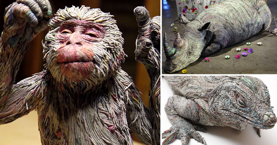 Life Like Animal Sculptures Made From Rolled Newspaper