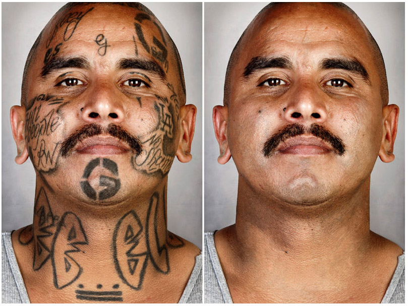 Powerful portraits of ex gang members with their tattoos for Tattoo mole on face