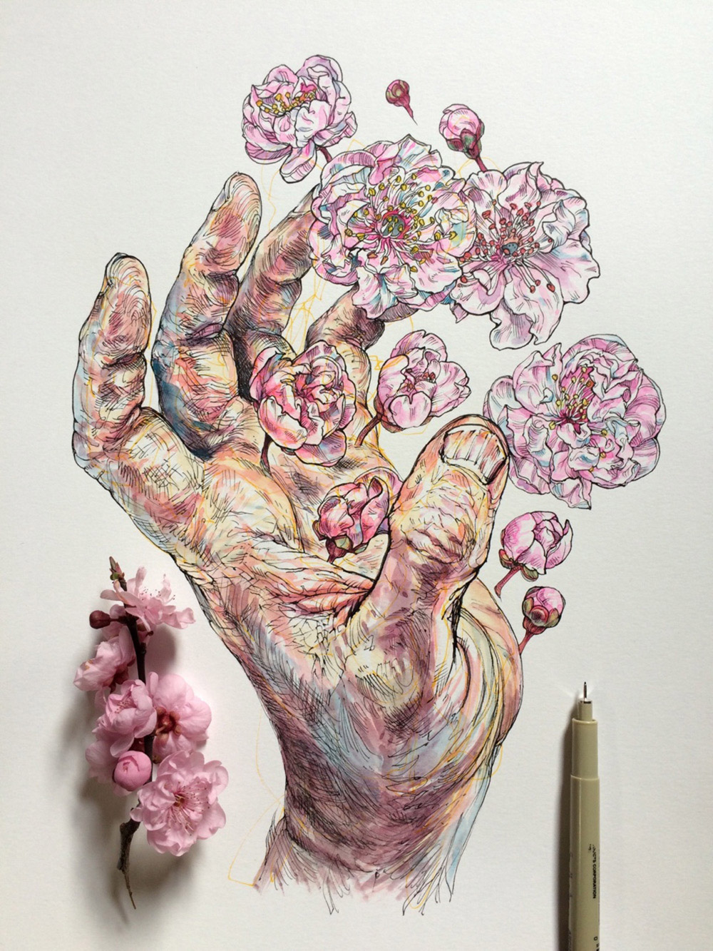 Painting Of Hands Holding Flowers