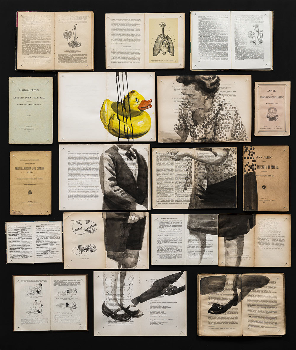 Ink Paintings Spread Through Arrangements of Vintage Books by Artist Ekaterina Panikanova – BOOOOOOOM! – CREATE * INSPIRE * COMMUNITY * ART * DESIGN * MUSIC * FILM * PHOTO * PROJECTS