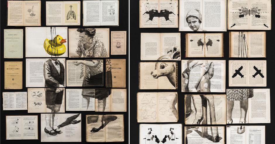 Ink Paintings Spread Through Arrangements Of Vintage Books