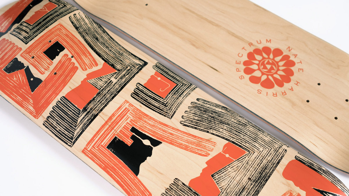 A Skateboard Graphic Made From Old Skateboards by Artist