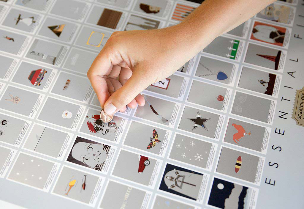 �100 essential films scratchoff poster� by pop chart lab