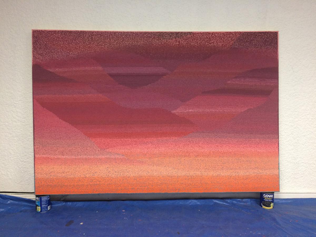 """Molly Blue 48""""x72"""" acrylic, sand, smog on canvas 2017"""