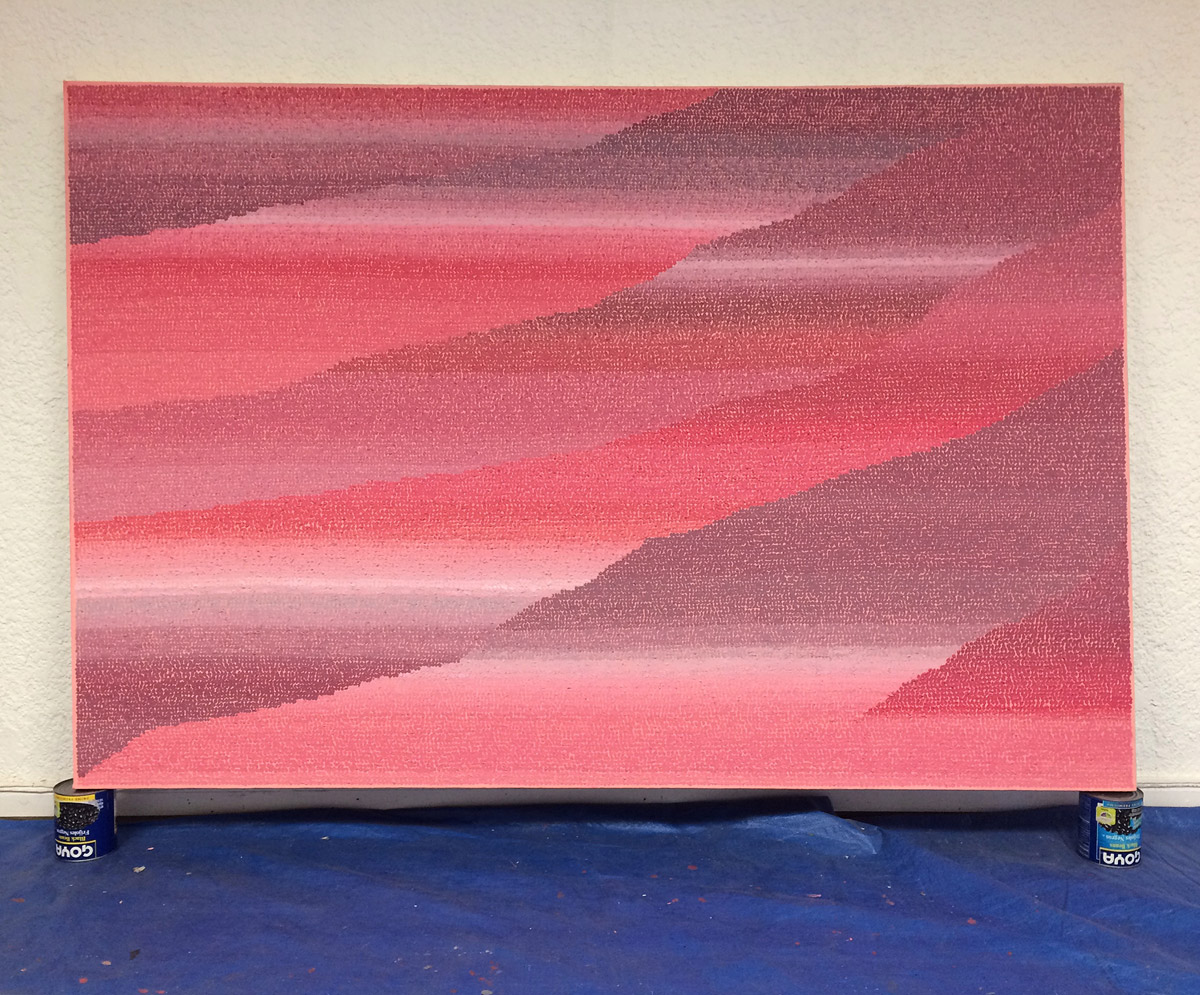 "Sakura Canyon 48""x72"" acrylic, sand, smog on canvas 2017"