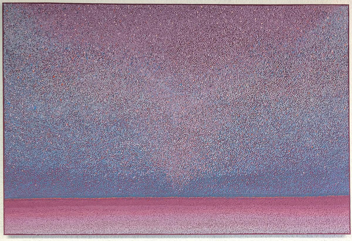 """Secret Energy Field 48""""x72"""" acrylic, sand, smog on canvas 2017"""