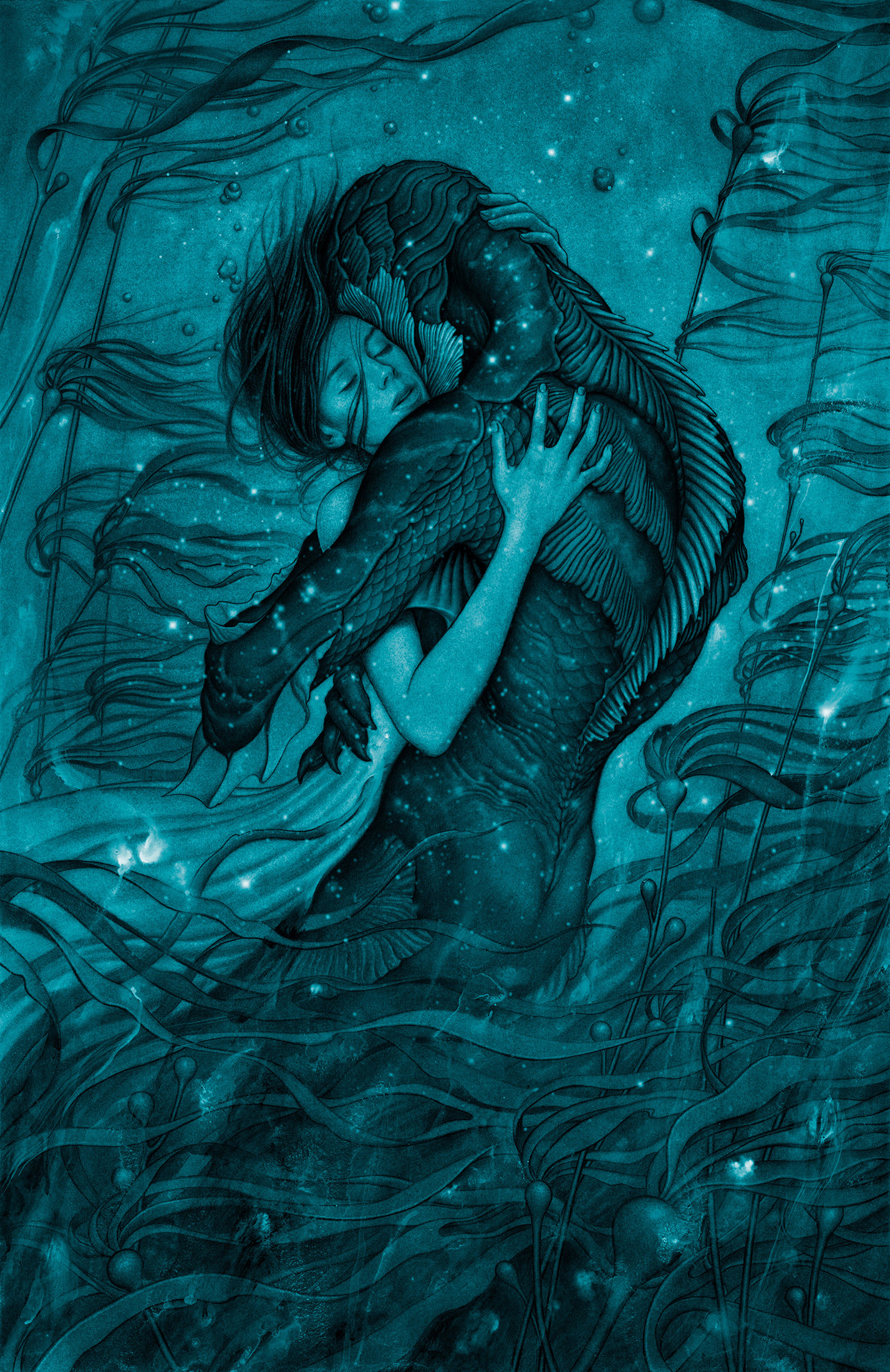 "James Jean's finished poster for ""The Shape of Water"""