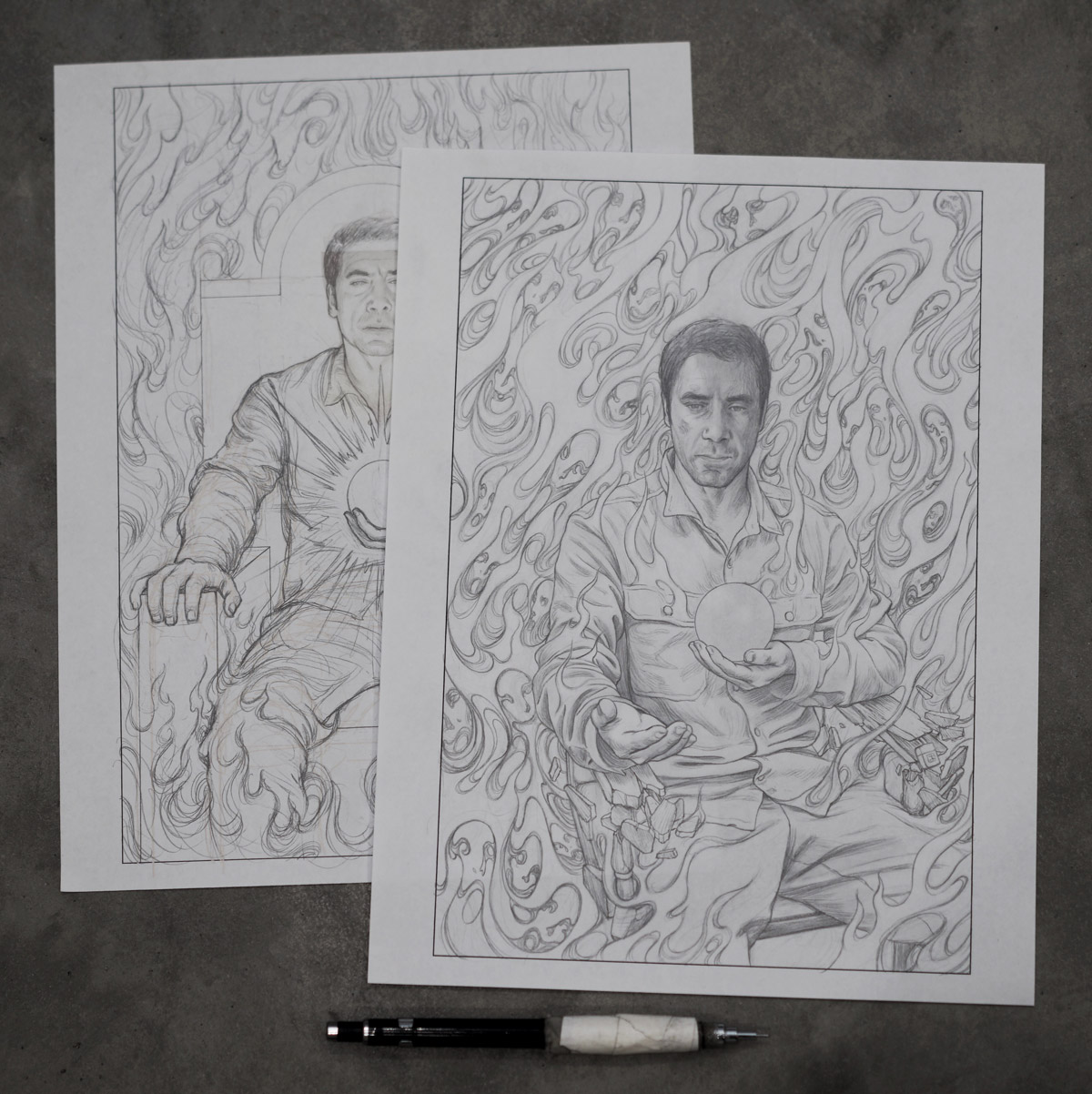 James Jean's sketches of Javier Bardem for mother! film poster