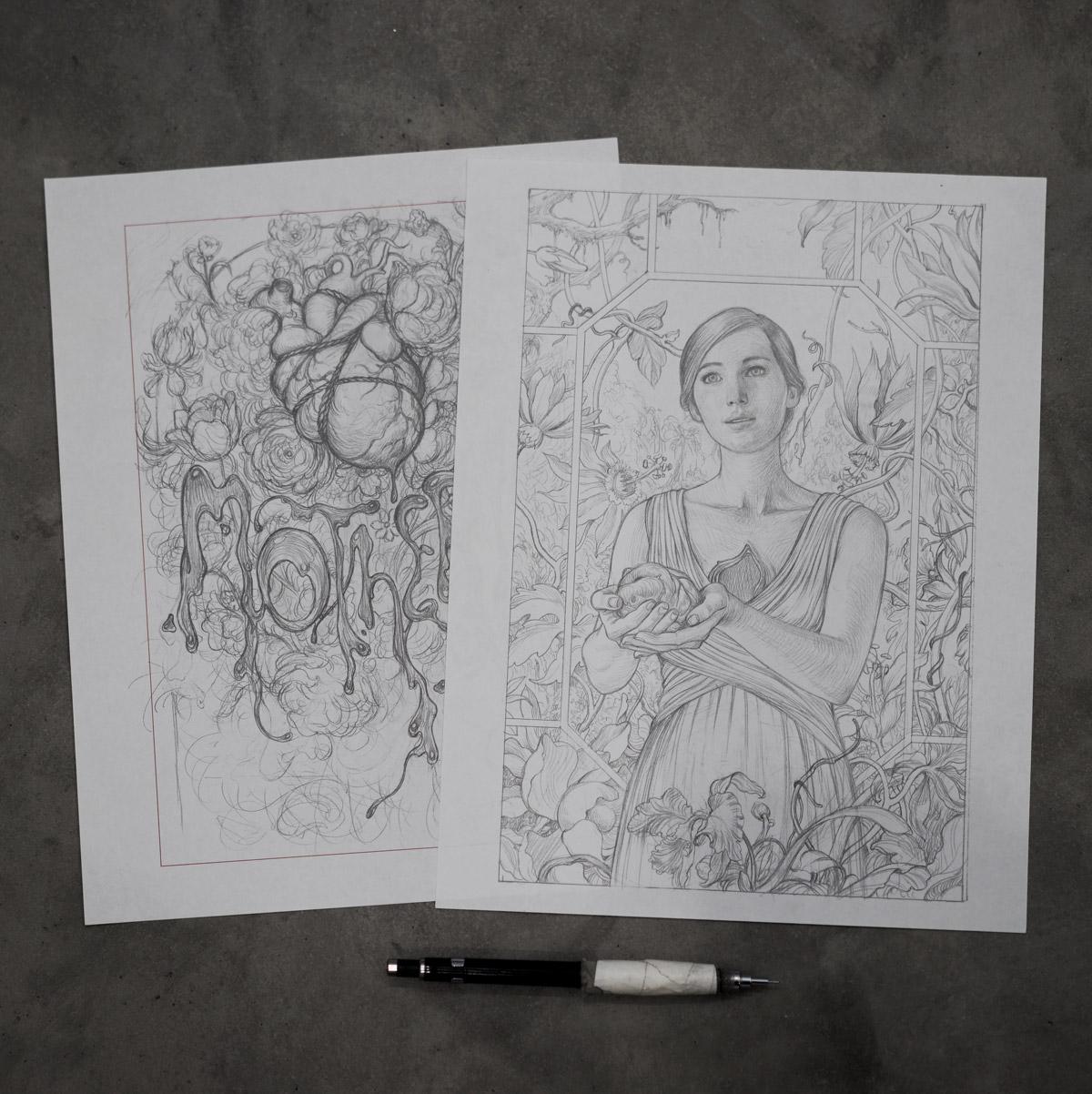 James Jean's sketches of Jennifer Lawrence for mother! film poster